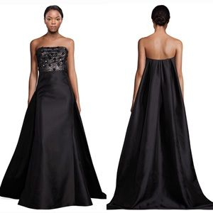 Monique Lhuillier Strapless Evening Gown w/ Train